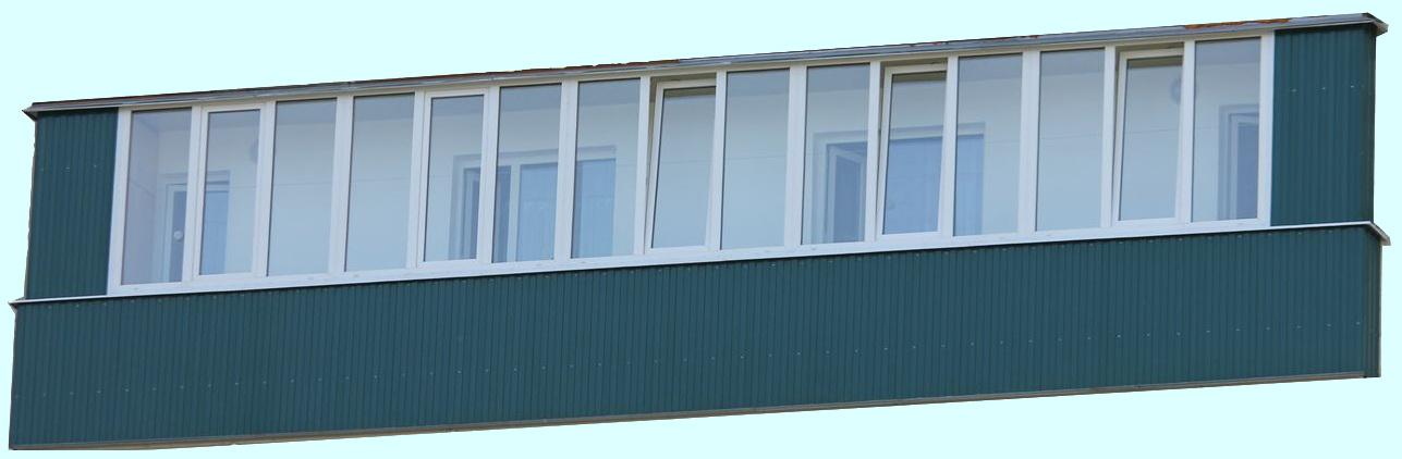 Остекление балконов металлическим профилем.